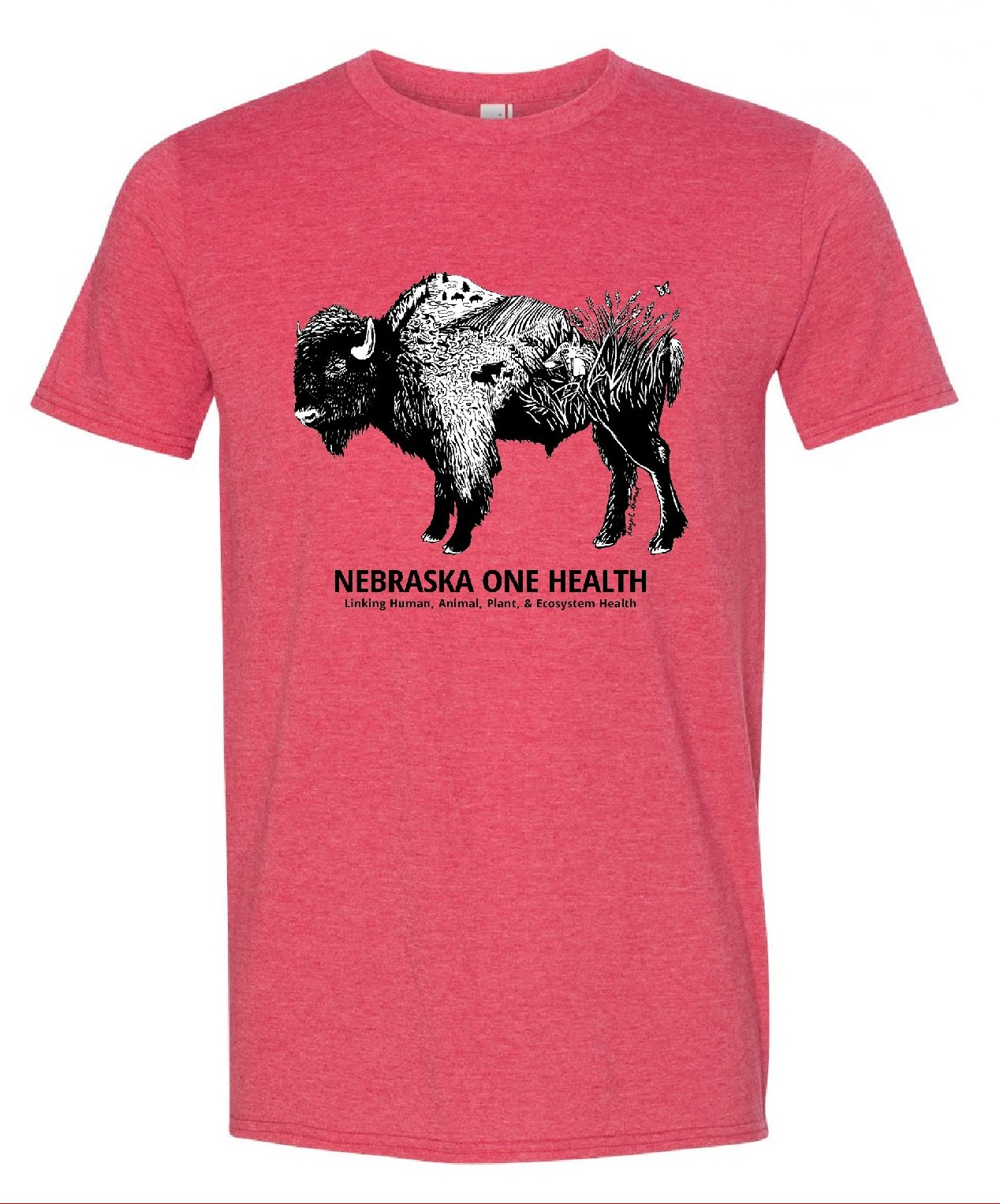 Nebraska One Health Program Red Buffalo T-Shirts front