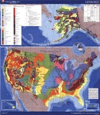 "Geologic Map of the United States of America (GIM-156): Reed, J.C., Bush, C.A. (1:750,000; 2007), size 28"" x 32"". Description: This is a colorful, double sided map showing the Geology of the United States. It shows: the age, distribution, and character of"