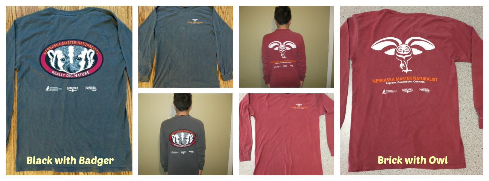 Nebraska Master Naturalist Long Sleeve T-Shirts, select washed Black or Brick (MN-16)