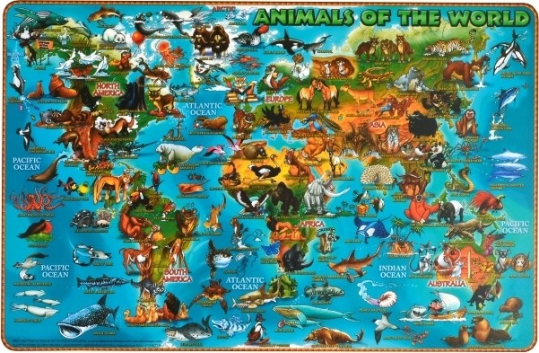 Illustrated Animals of the World PlaceMap (DPM02)