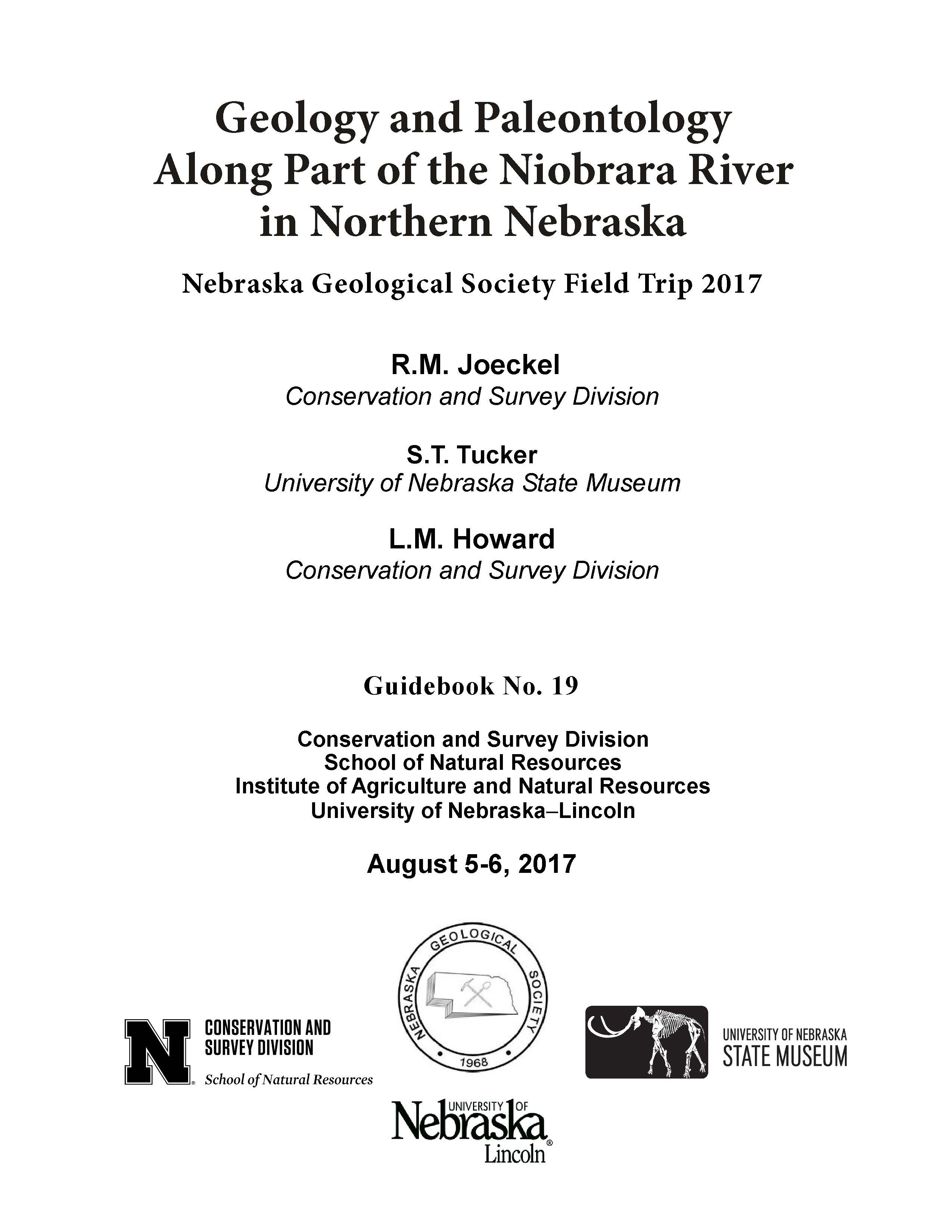 Geology and Paleontology Along Part of the Niobrara River in Northern Nebraska (GB-19)