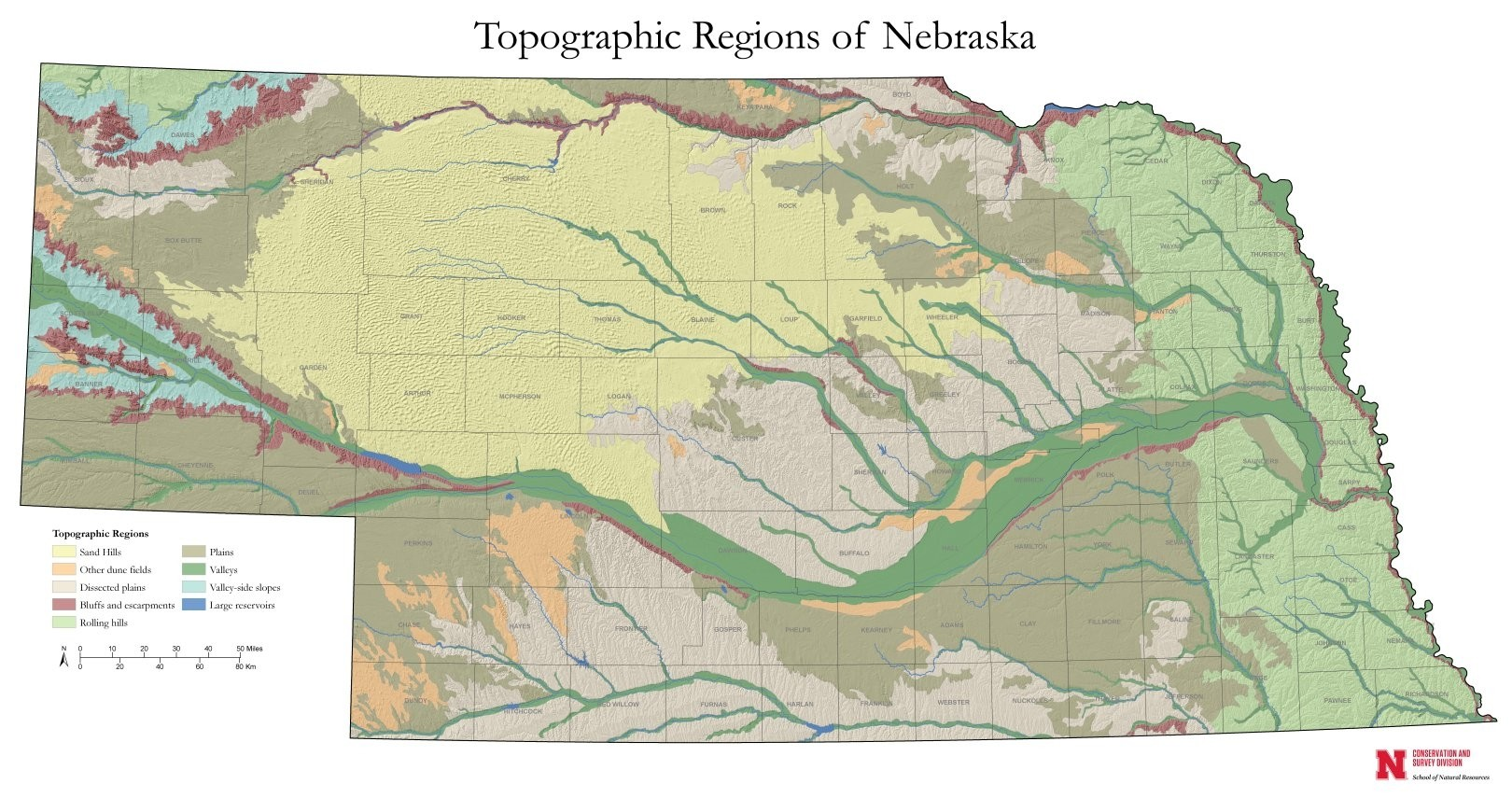 Topographic Regions of Nebraska (GIM-232)