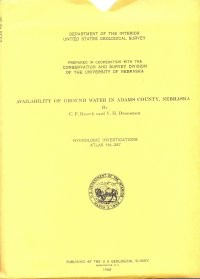 Availability of Ground Water in Adams County, Nebraska (HA-287)