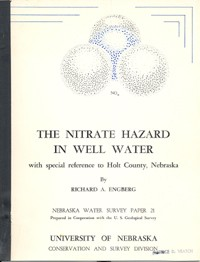 The Nitrate Hazard in Well Water, with Special Reference to Holt County, Nebraska