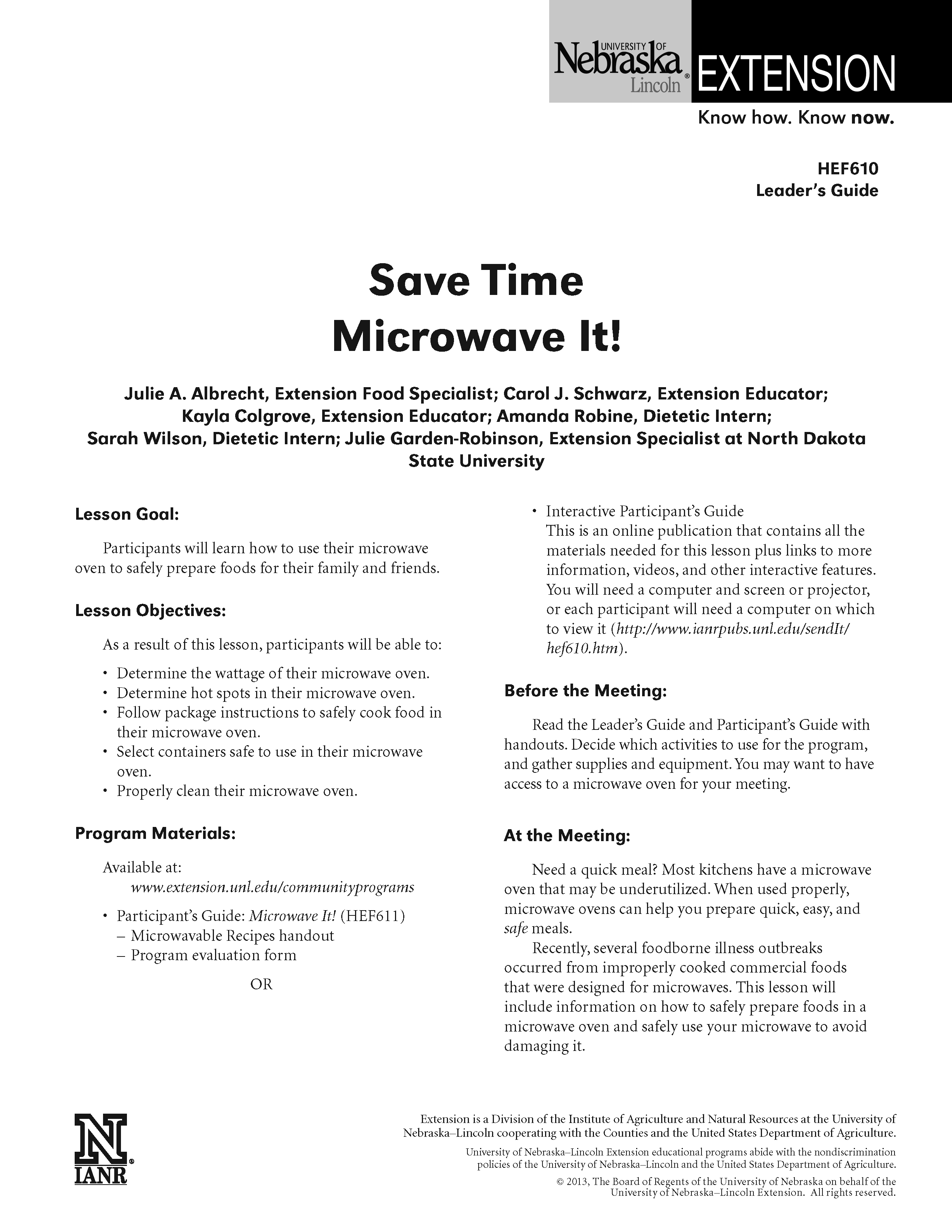 Microwave It! Leader's Guide