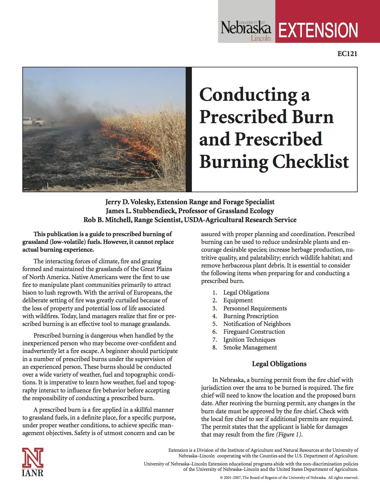 Conducting a Prescribed Burn and Prescribed Burning Checklist