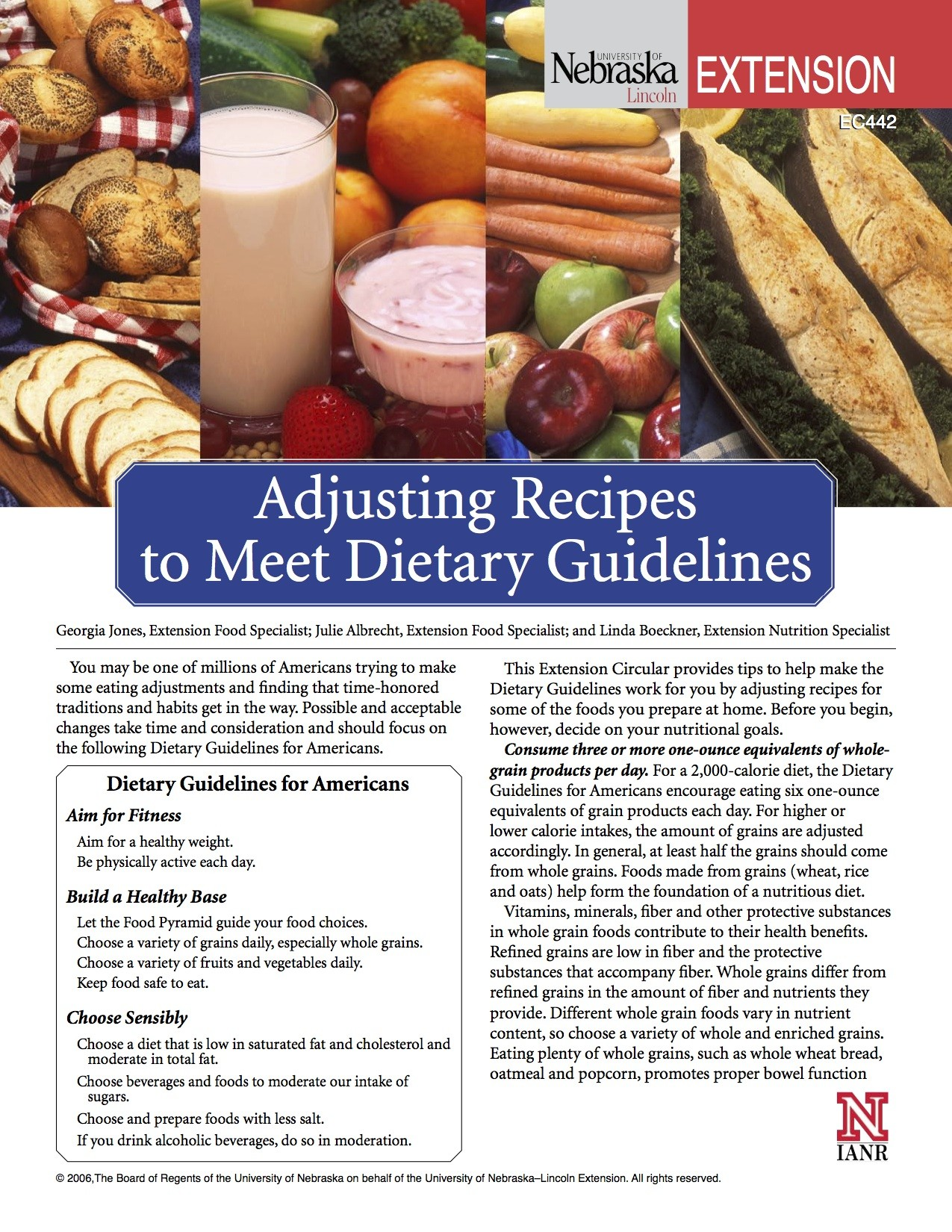 Adjusting Recipes to Meet Dietary Guidelines