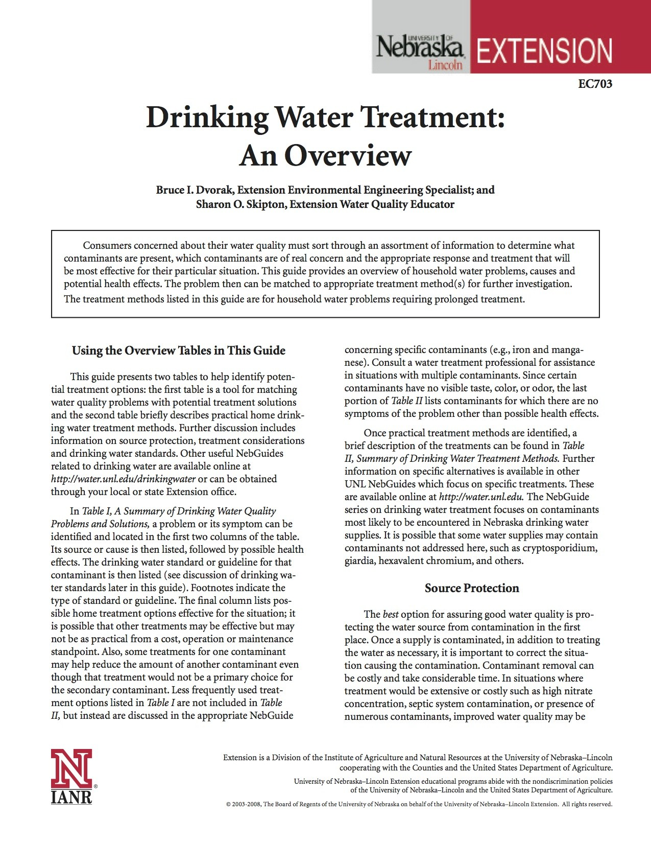 Drinking Water Treatment: An Overview