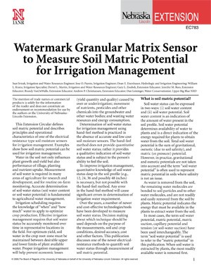 Watermark Granular Matrix Sensor to Measure Soil Matric Potential for Irrigation Management