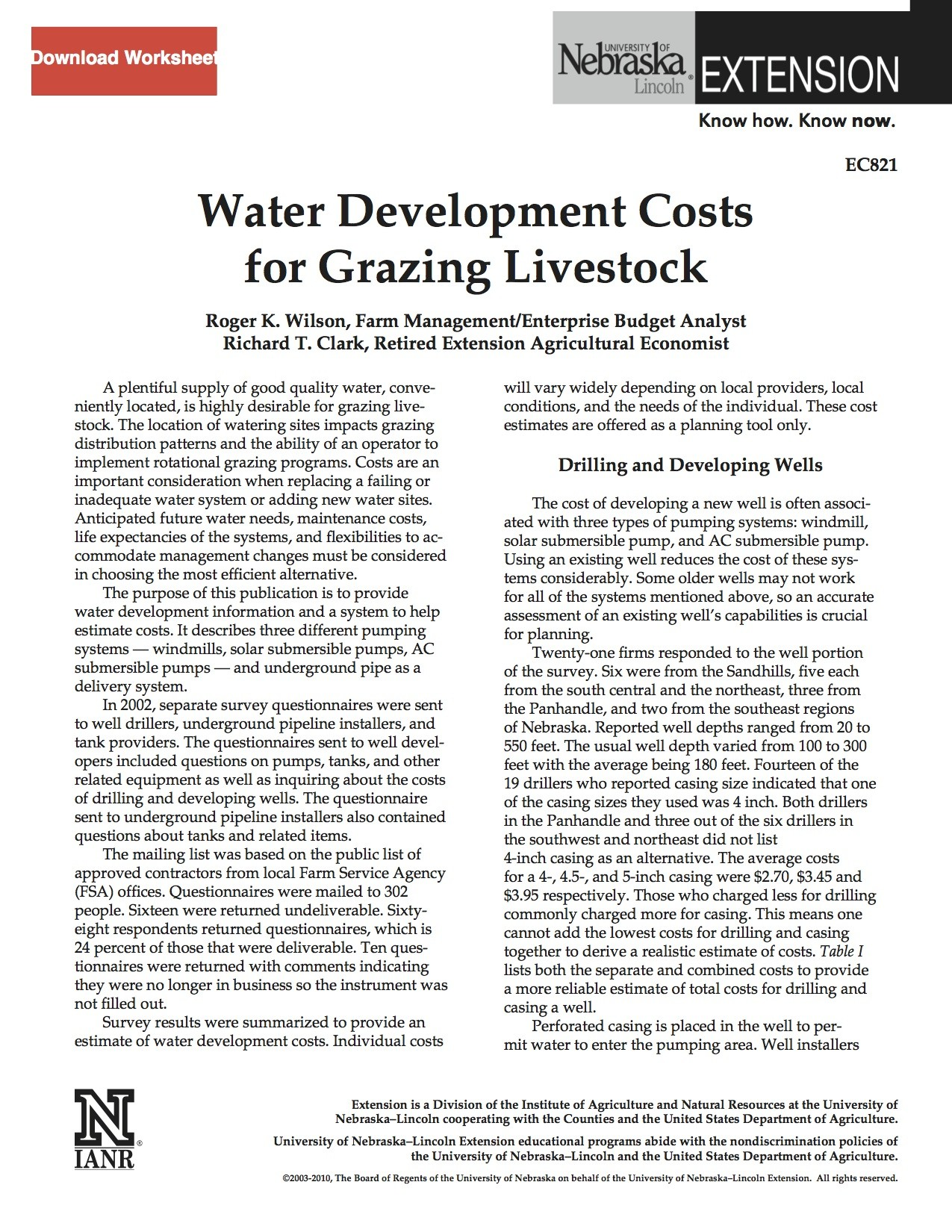 Water Development Costs for Livestock
