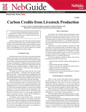 Carbon Credits from Livestock Production