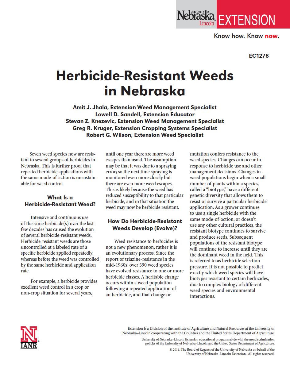 Herbicide-Resistant Weeds in Nebraska