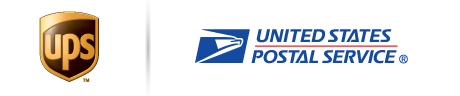 Logos of shipping carriers, UPS; USPS