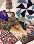 Tight arrangement of quilting inspired gifts