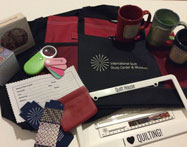 Arrangement of tumblers, mugs, and other promotional products